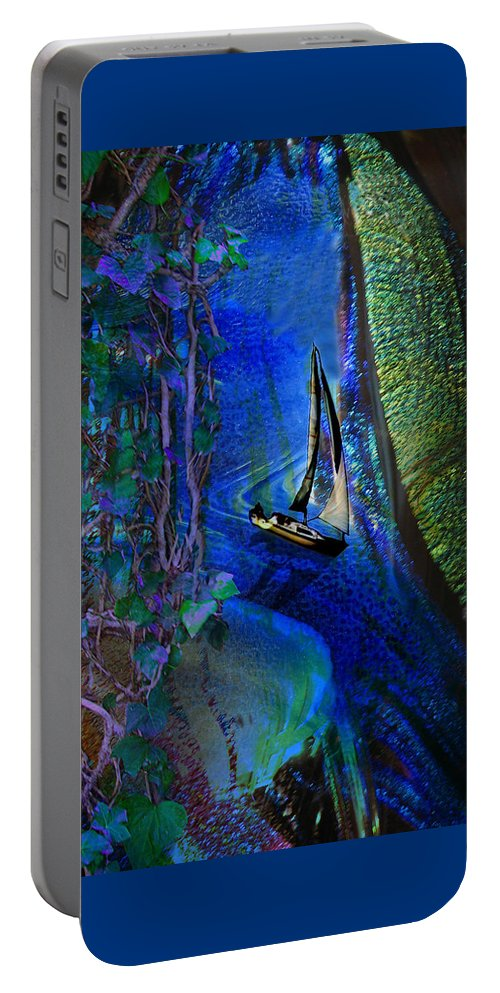 Dark River Portable Battery Charger featuring the digital art Dark River by Lisa Yount