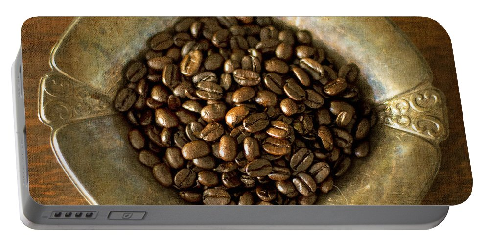 Whole Dark Roast Coffee Beans Portable Battery Charger featuring the photograph Dark Roast Coffee Beans And Antique Silver by Renee Hong