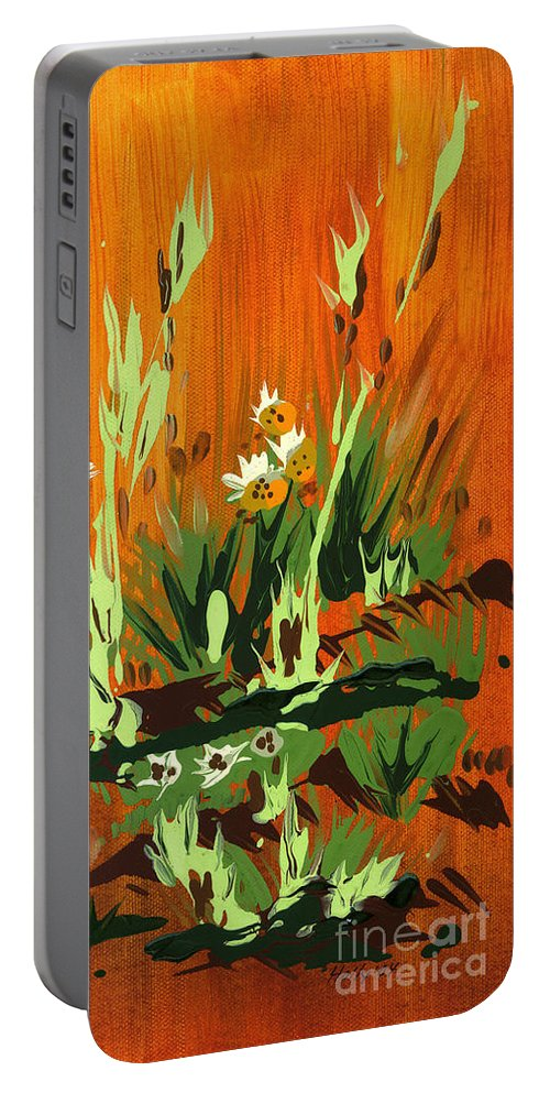 Flowers Portable Battery Charger featuring the painting Darlinettas by Holly Carmichael