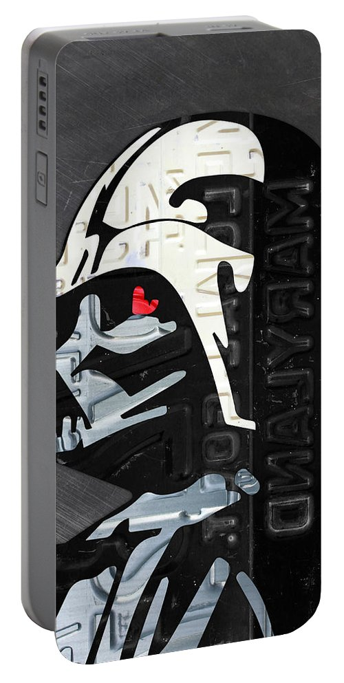 Darth Vader Portable Battery Charger featuring the mixed media Darth Vader Helmet Star Wars Portrait Recycled License Plate Art by Design Turnpike