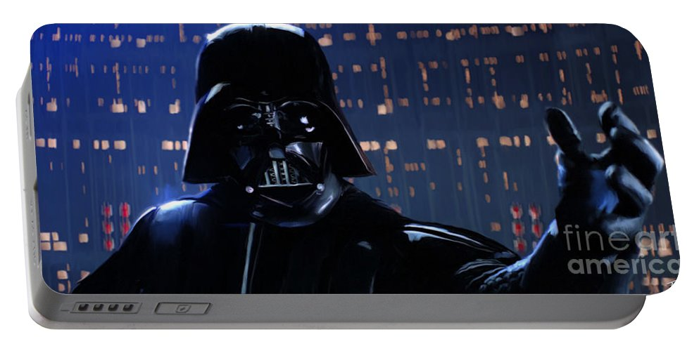 Empire Portable Battery Charger featuring the painting Darth Vader by Paul Tagliamonte