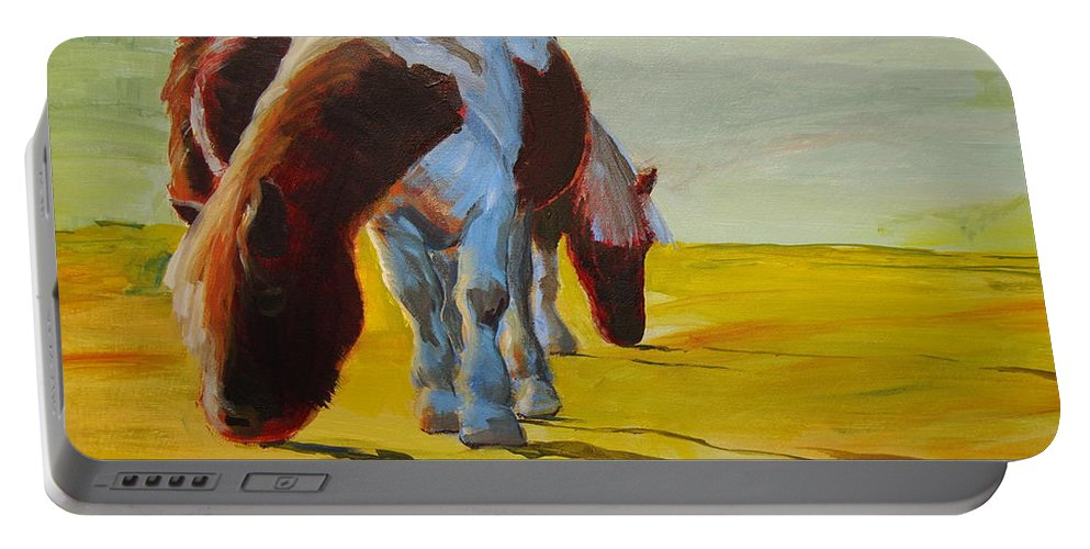 Pony Portable Battery Charger featuring the painting Dartmoor Ponies by Mike Jory