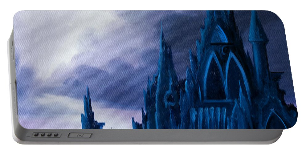 Castle Portable Battery Charger featuring the painting Dartonian Castle by James Christopher Hill