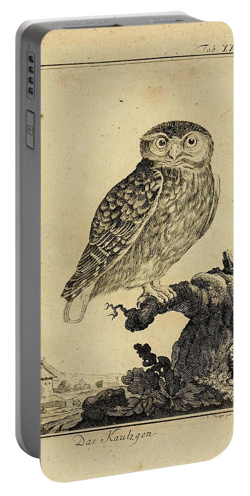 Owl Portable Battery Charger featuring the drawing Das Kautzgen by Philip Ralley