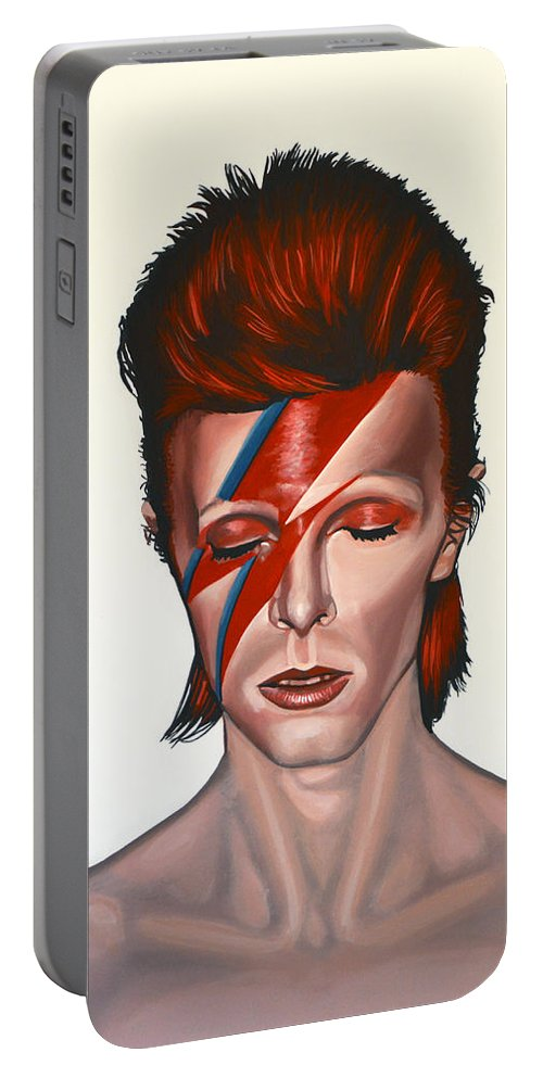 David Bowie Portable Battery Charger featuring the painting David Bowie Aladdin Sane by Paul Meijering