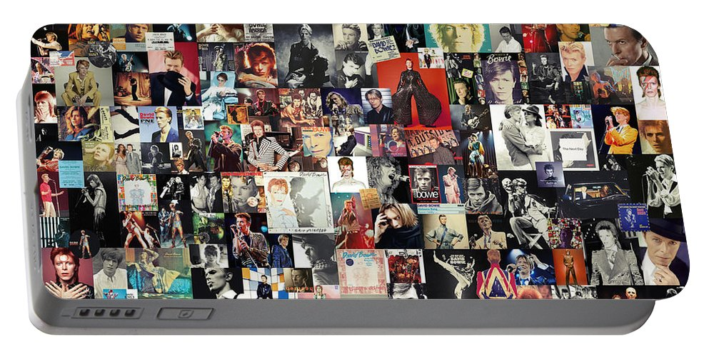 David Bowie Portable Battery Charger featuring the digital art David Bowie Collage by Zapista OU