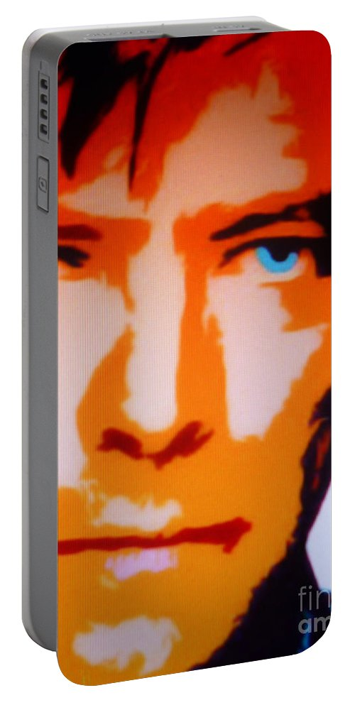 David Portable Battery Charger featuring the painting David Bowie by Ryszard Sleczka