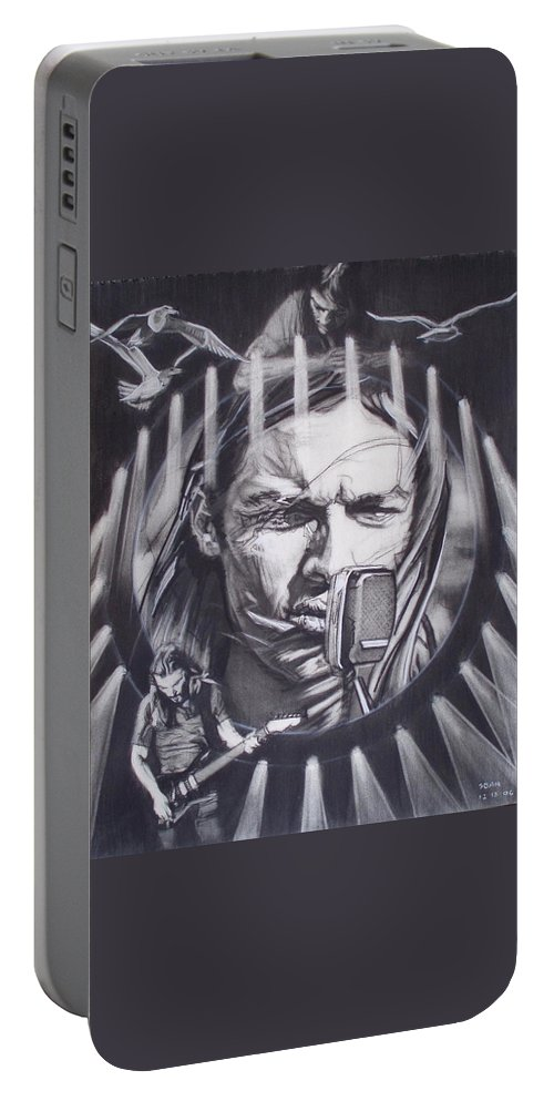 Charcoal On Paper Portable Battery Charger featuring the drawing David Gilmour Of Pink Floyd - Echoes by Sean Connolly