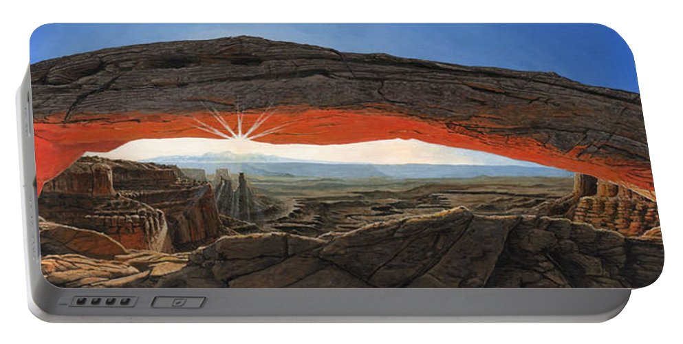 Mesa Arch Portable Battery Charger featuring the painting Dawn At Mesa Arch Canyonlands Utah by Richard Harpum