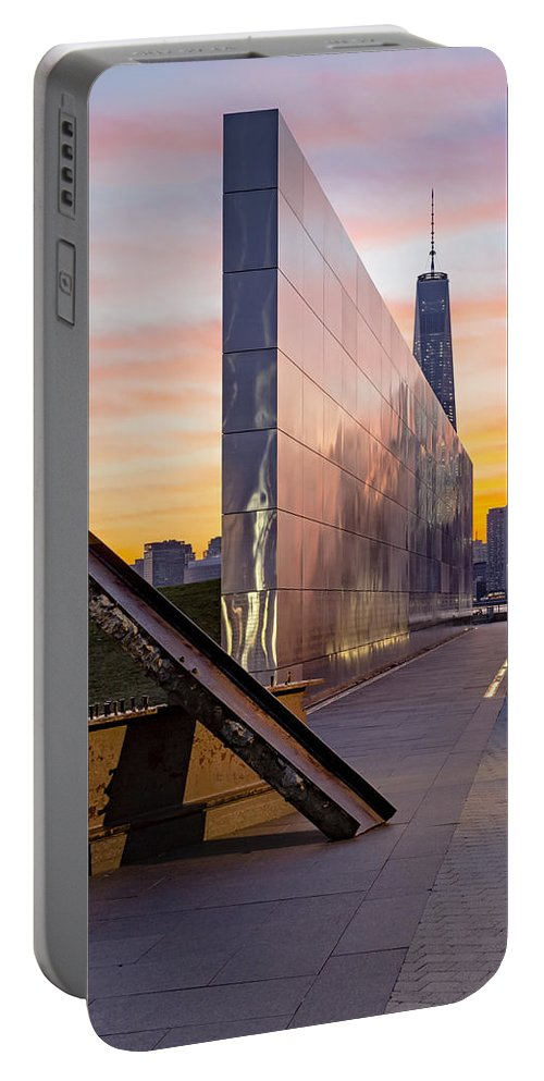 Financial District Portable Battery Charger featuring the photograph Dawn At The Empty Sky Memorial by Susan Candelario