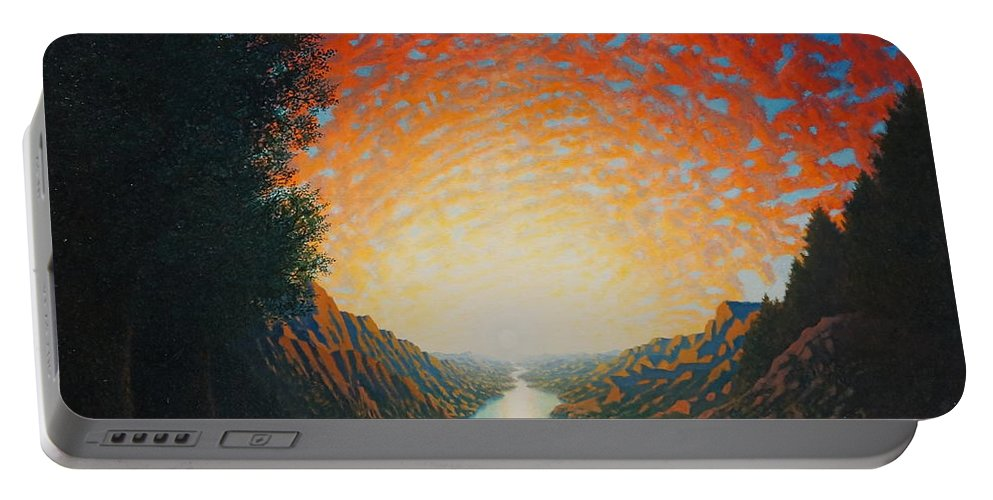 Sun Portable Battery Charger featuring the painting Dawn by Karma Moffett