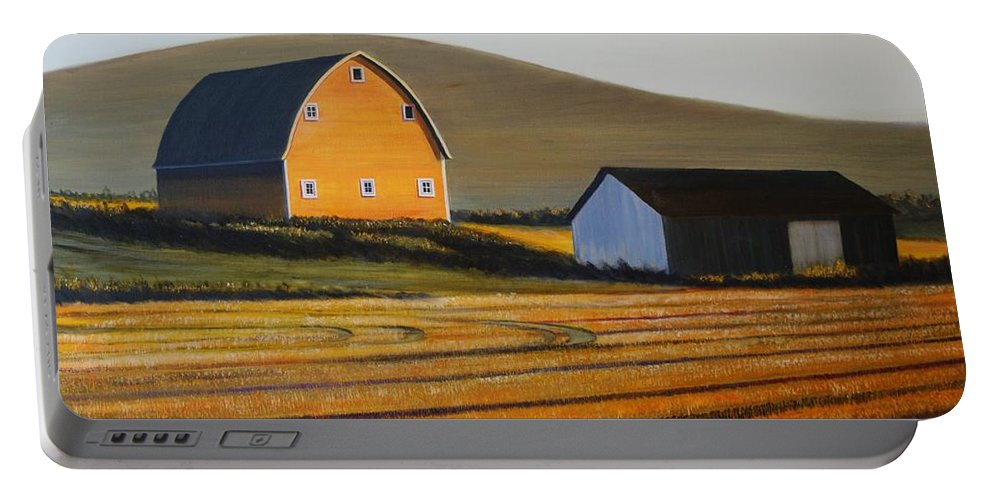 Landscape Portable Battery Charger featuring the painting Dawn Near Lenville by Leonard Heid