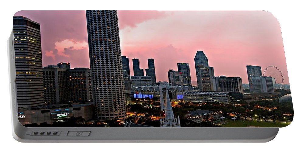 Singapore Portable Battery Charger featuring the photograph Dawn Over Singapore by Paul Fell