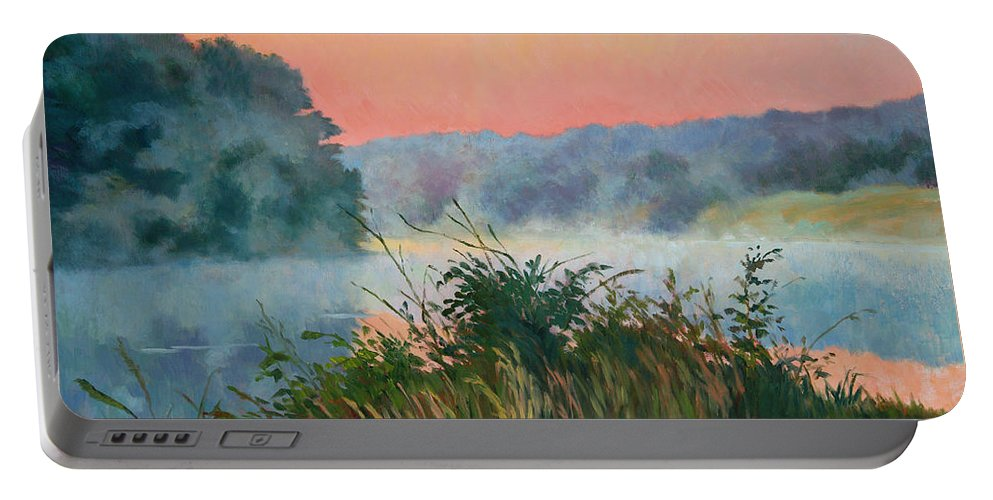 Impressionism Portable Battery Charger featuring the painting Dawn Reflection by Keith Burgess