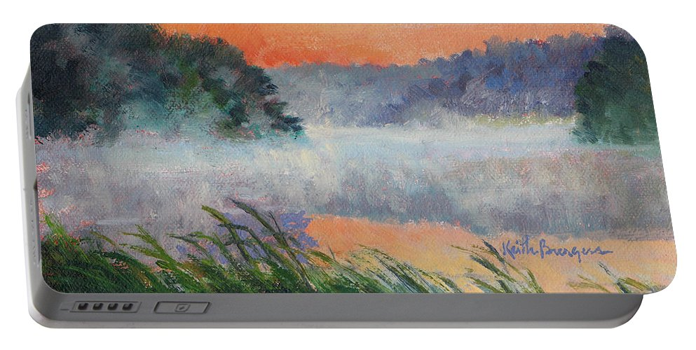 Impressionism Portable Battery Charger featuring the painting Dawn Reflection Study by Keith Burgess