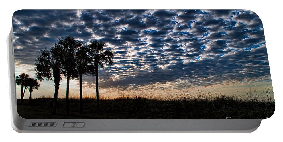 Palm Portable Battery Charger featuring the photograph Dawn Silhouettes by Photos By Cassandra