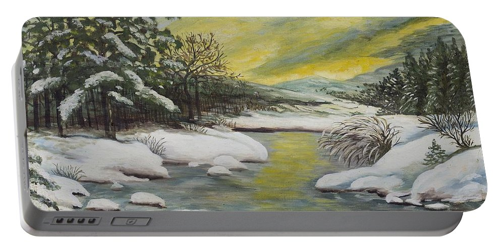 Yellow Portable Battery Charger featuring the painting Dawning Of A Winter Day by Gladys Berchtold