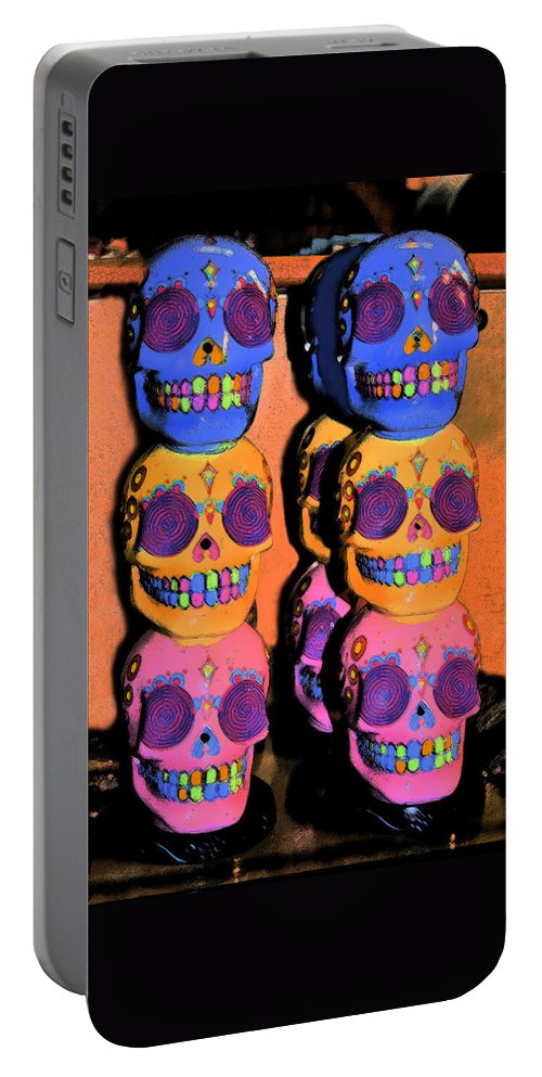 Halloween Art Portable Battery Charger featuring the digital art Day Of The Dead Ink by Pamela Smale Williams