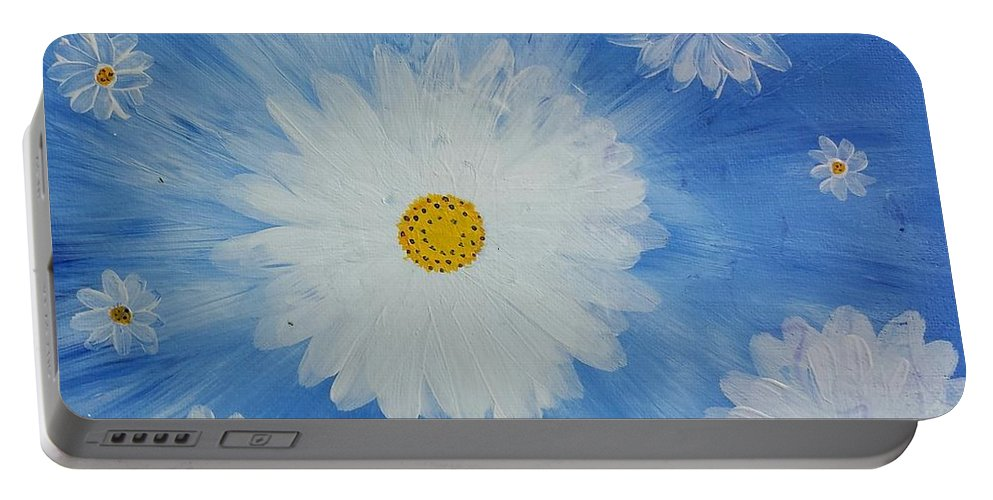 Daisy Portable Battery Charger featuring the painting Daydreamin Daisy by Iamthebetty Tbone