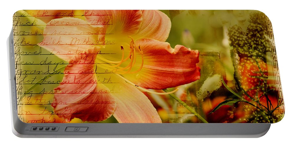 Daylily Portable Battery Charger featuring the photograph Daylily Memories by Karen Beasley