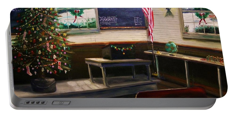 Oil Portable Battery Charger featuring the painting Days til Christmas by John Williams