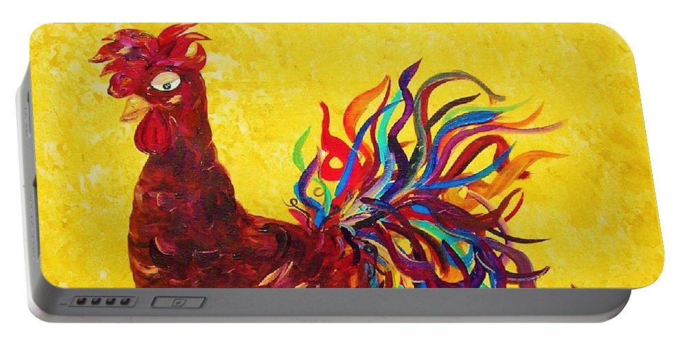 Rooster Portable Battery Charger featuring the painting De Colores Rooster by Eloise Schneider Mote