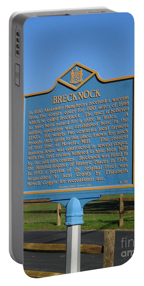 Historic Marker Portable Battery Charger featuring the photograph De-kc55 Brecknock by Jason O Watson