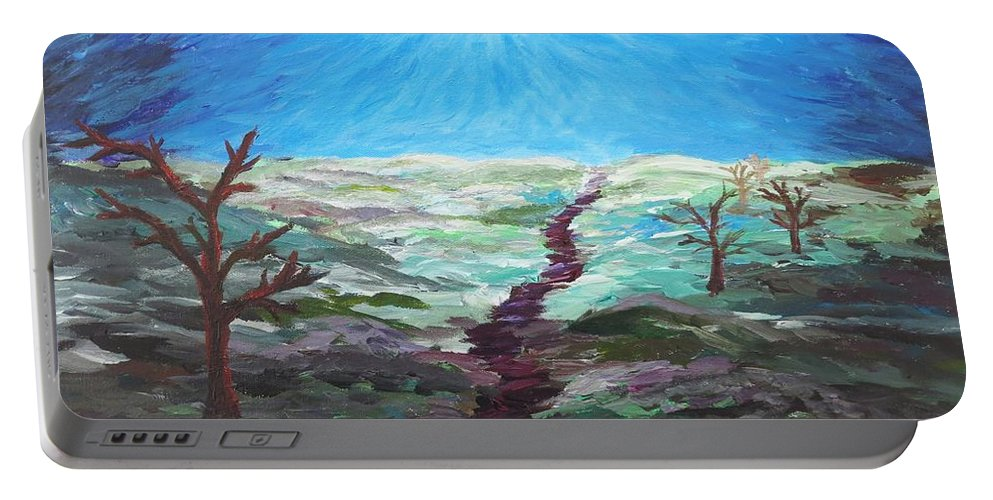 Tree Portable Battery Charger featuring the painting Dead Trees On The Moor by CE Dill