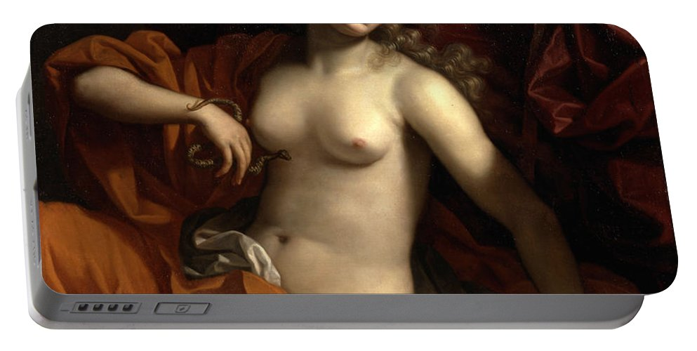 Benedetto Gennari Ii Portable Battery Charger featuring the painting Death Of Cleopatra by Benedetto Gennari II