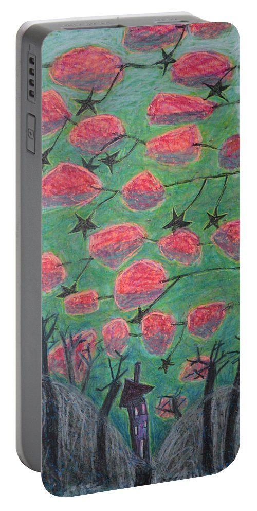 Brown Portable Battery Charger featuring the painting Death Tree by Nancy Mauerman