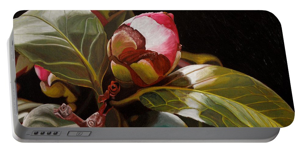 Rose Portable Battery Charger featuring the painting December Rose by Thu Nguyen
