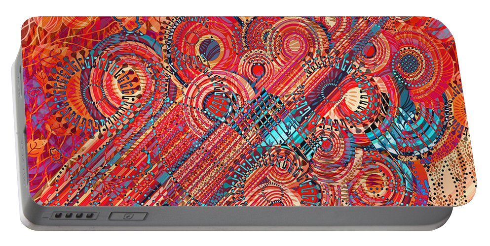 Abstract Art Portable Battery Charger featuring the digital art Deco Flower Swirls by Mary Clanahan