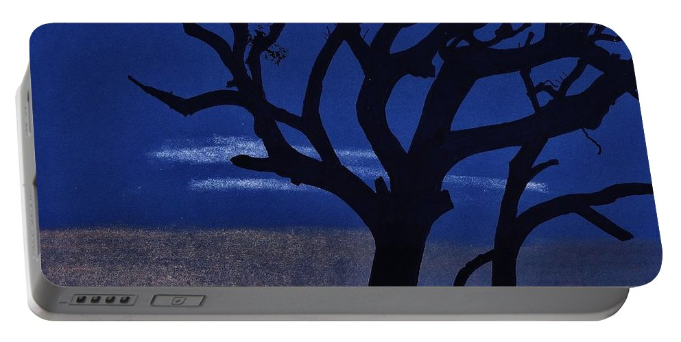 Sunset Portable Battery Charger featuring the drawing Deep - Blue - Sunset by D Hackett
