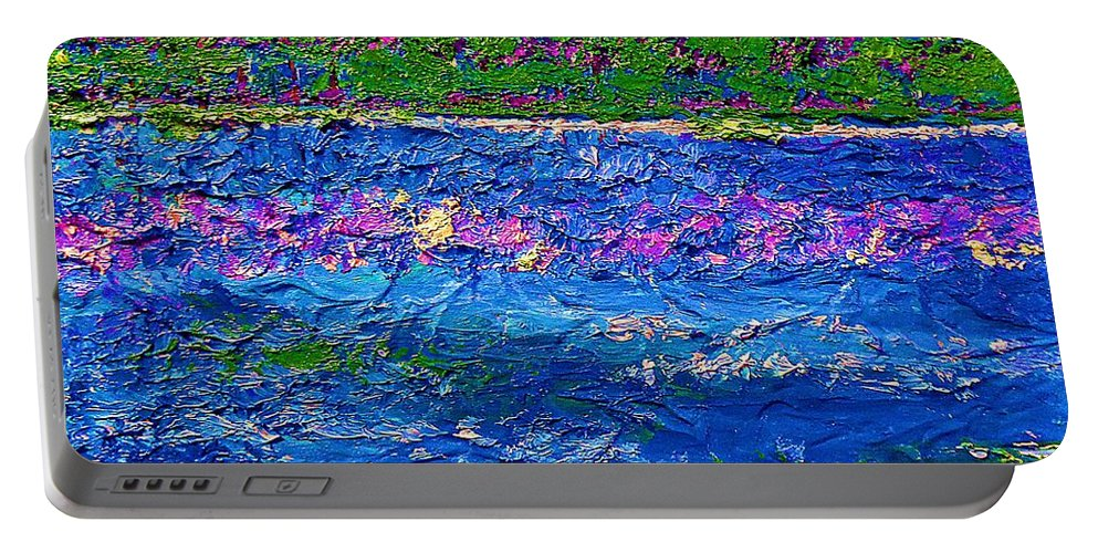 Deep Blue Sea Abstract Portable Battery Charger featuring the painting Deep Blue Texture Abstract by Saundra Myles