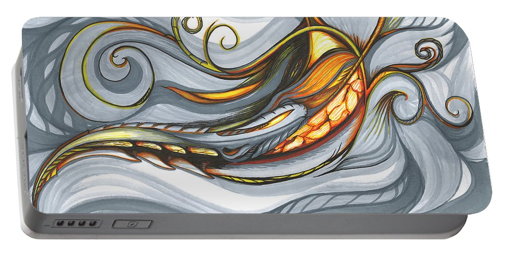 Abstract Portable Battery Charger featuring the drawing Deep Current by Karen Renee
