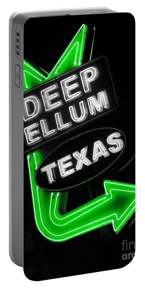 Deep Ellum Portable Battery Charger featuring the photograph Deep Ellum In Green by Robert ONeil