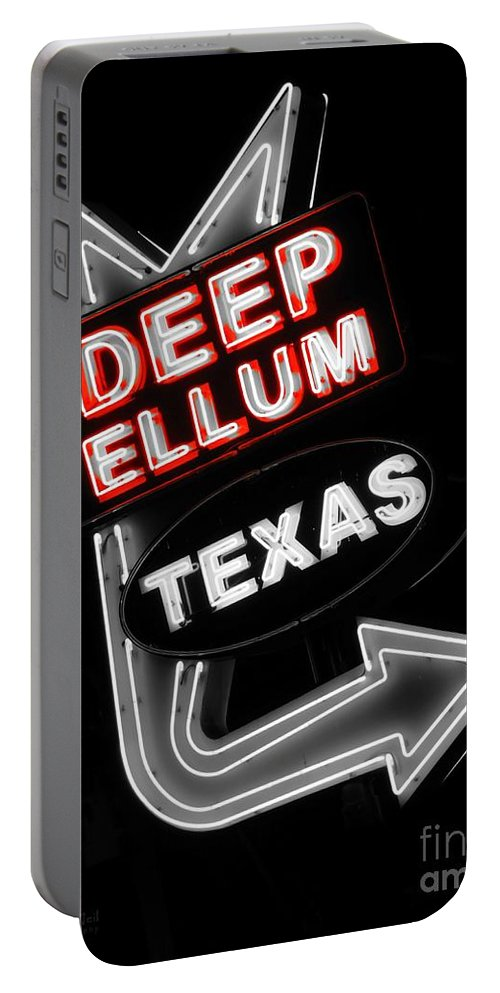 Deep Ellum Portable Battery Charger featuring the photograph Deep Ellum In Red by Robert ONeil