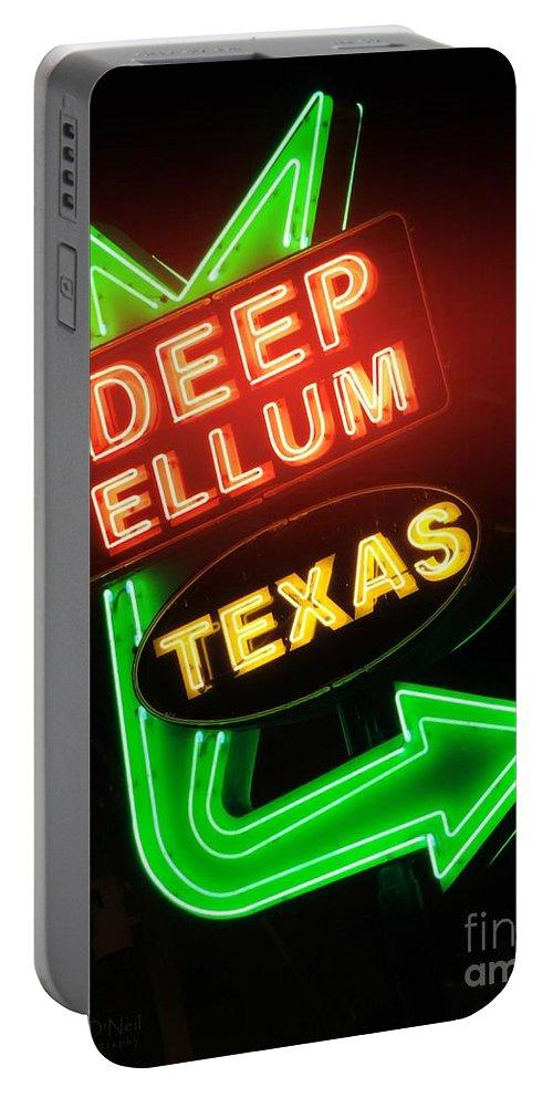 Deep Ellum Portable Battery Charger featuring the photograph Deep Ellum Red Glow by Robert ONeil
