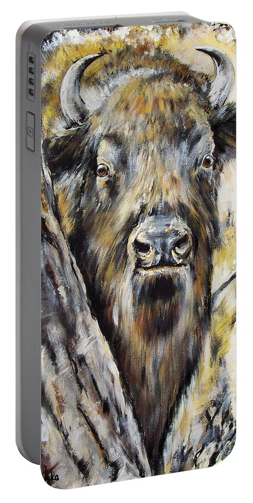 Bison Portable Battery Charger featuring the painting Deep In The Forest by Angel Ciesniarska