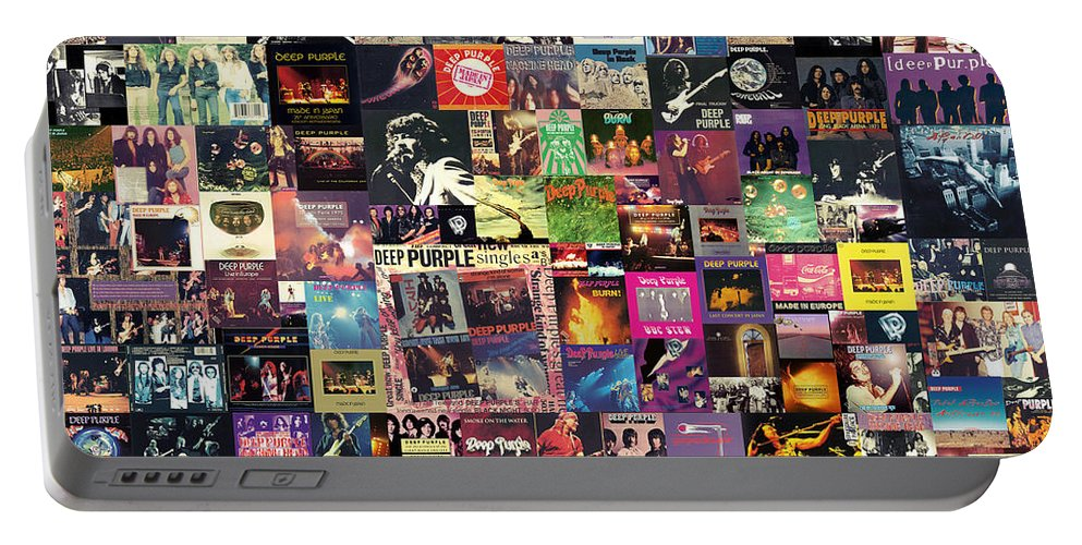 Deep Purple Portable Battery Charger featuring the digital art Deep Purple Collage by Zapista OU
