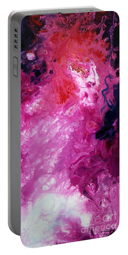 Abstract Portable Battery Charger featuring the painting Deep Space Canvas Four by Sally Trace