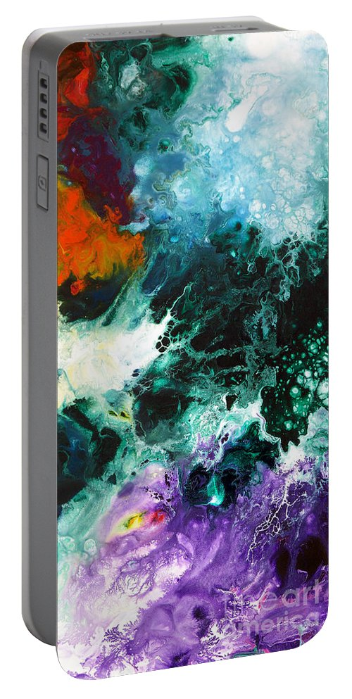 Abstract Portable Battery Charger featuring the painting Deep Space Canvas Two by Sally Trace