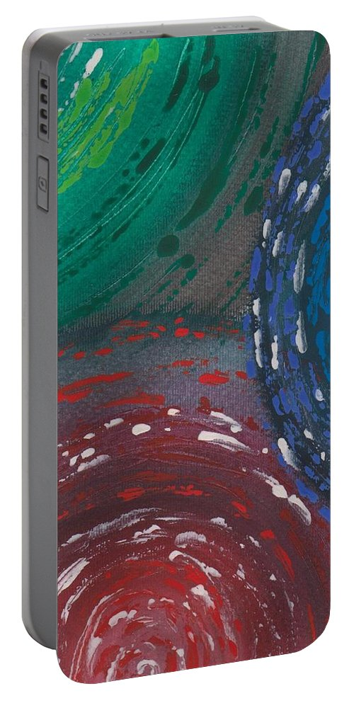 Abstract Portable Battery Charger featuring the painting Deepen Abstract Shapes by Jill Christensen