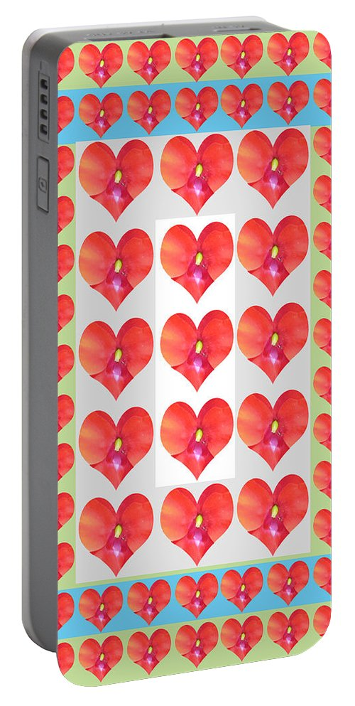Heart Portable Battery Charger featuring the painting Deeply In Love Cherryhill Flower Petal Based Sweet Heart Pattern Colormania Graphics by Navin Joshi