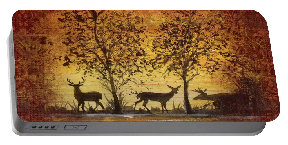 Deer Painting Portable Battery Charger featuring the painting Deer At Sunset On Damask by Jean Plout