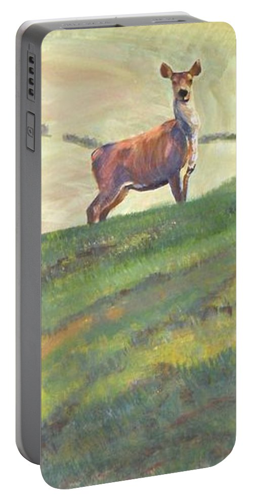 Deer Portable Battery Charger featuring the painting Deer by Mike Jory