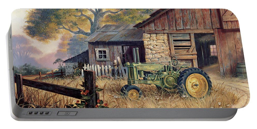 Landscape Portable Battery Charger featuring the painting Deere Country by Michael Humphries