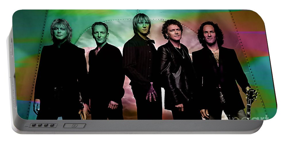 Def Leppard Photographs Portable Battery Charger featuring the mixed media Def Leppard by Marvin Blaine