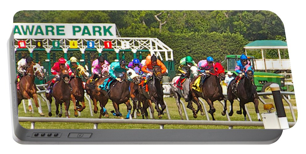 Race Portable Battery Charger featuring the photograph Delaware Park by Alice Gipson