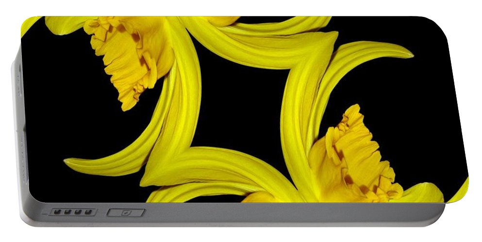 Daffodil Portable Battery Charger featuring the photograph Delightful Daffodil Abstract by Rose Santuci-Sofranko